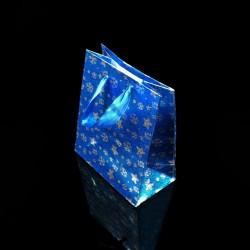 12 sacs cadeaux de couleur bleue motif étoiles 21x18x7.5cm - 7524