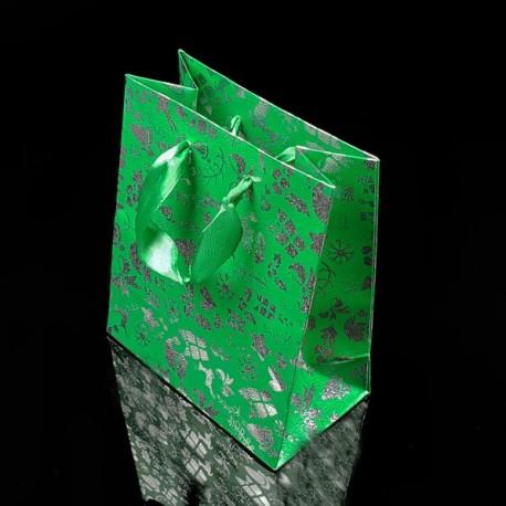Lot de 12 sacs cadeaux vert menthe motifs de Noël 38.5x29x8.5cm - 7535