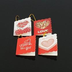 Lot de 40 étiquettes cadeaux rouge et blanche motifs coeurs - 7464