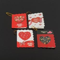 40 étiquettes cadeaux rouge et blanche motifs Saint-Valentin - 7465