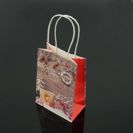 12 petits sacs kraft de Noël décor bougie et houx 12x17x7cm - 7541