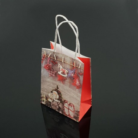 12 petits sacs kraft de Noël décor Père Noël et chaussons 12x17x7cm - 7543