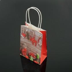 12 petits sacs kraft de Noël bougie et renne 12x17x7cm - 7544