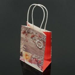 12 sacs kraft de Noël décor bougie et houx 18x23x10cm - 7545