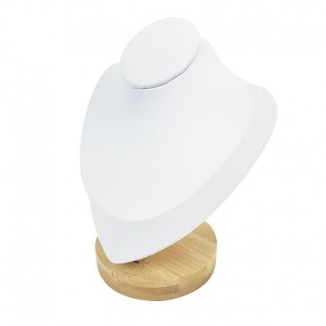 Petit buste en bois et simili cuir blanc 16.5cm - 7550