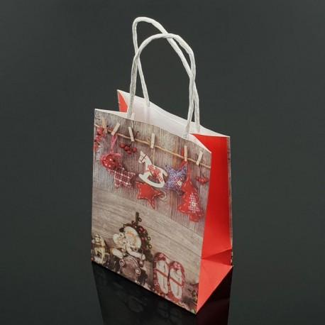 12 sacs kraft de Noël décor Père Noël et chaussons 18x23x10cm - 7547