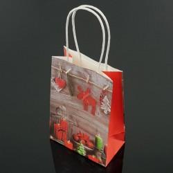 12 sacs kraft de Noël bougie et renne 18x23x10cm - 7548