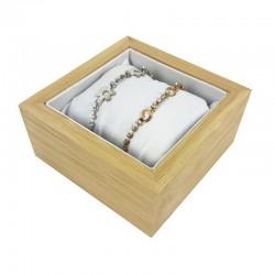 Petit casier en bois et coussin simili cuir blanc - 7555