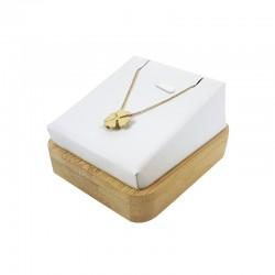 Support bijoux en bois et simili cuir blanc pour pendentif - 7557