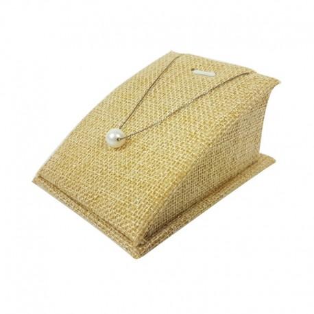 Porte bijoux en toile de jute beige pour pendentif et chaîne - 7568