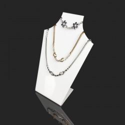 Petit présentoir buste en acrylique blanc pour 3 chaînes - 7572