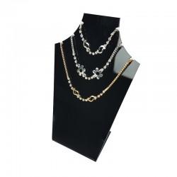 Petit présentoir buste en acrylique noir pour 3 chaînes - 7573