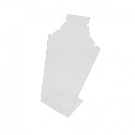 Petit présentoir buste en acrylique transparent pour 3 chaînes - 7574