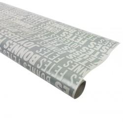 Rouleau de papier cadeaux gris inscription fêtes 60gr - 7579