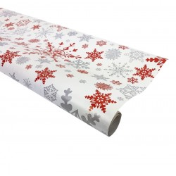 Rouleau de papier cadeaux blanc motifs flocons 60gr - 7582
