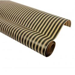 Rouleau de papier cadeaux en kraft brun rayé noir 60gr - 7587