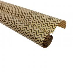 Rouleau de papier cadeaux en kraft brun zig-zag noir 60gr - 7588