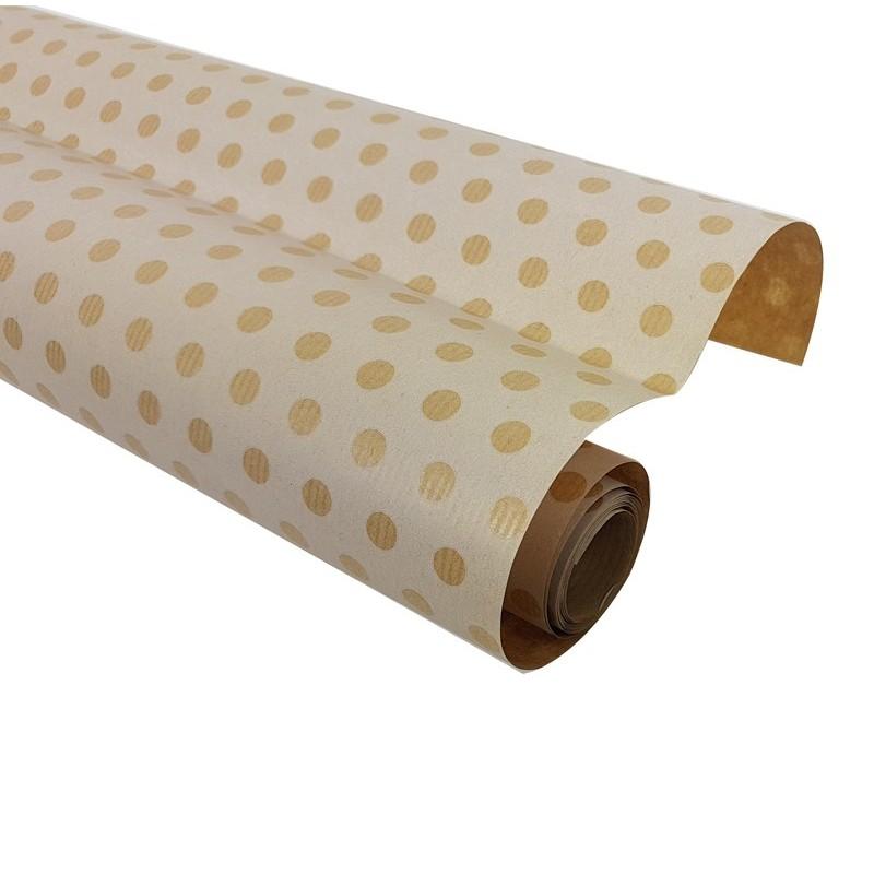 Petit Rouleau Papier Cadeaux Kraft Brun à Pois Rouleau Papier Cadeau