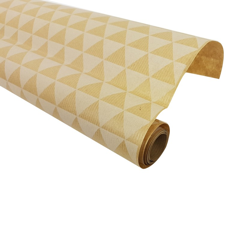 Rouleau De Papier Cadeaux En Kraft Brun Motif Triangles 60gr 7590
