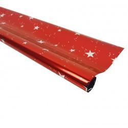 Rouleau de papier cadeaux rouge métalisé motif étoiles - 7595
