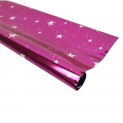 Rouleau de papier cadeaux rose métalisé motif étoiles - 7591