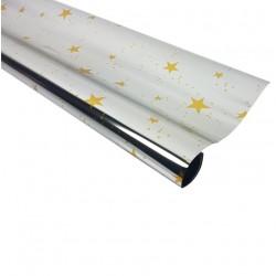 Rouleau de papier cadeaux argenté métalisé motif étoiles - 7593
