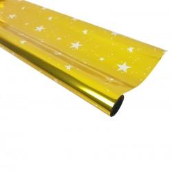 Rouleau de papier cadeaux doré métalisé motif étoiles - 7594