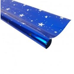 Rouleau de papier cadeaux bleu métalisé motif étoiles - 7592