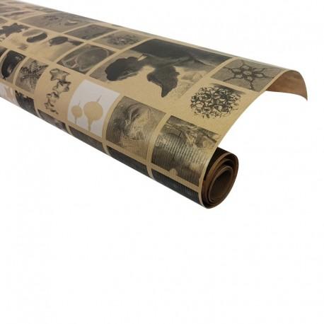 Rouleau de papier cadeaux en kraft brun motifs décor de Noël 60gr - 7584