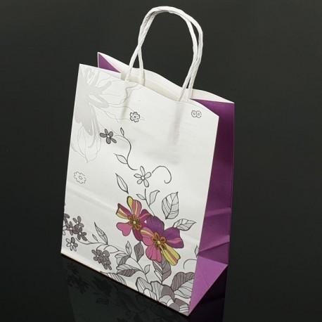 Lot de 12 grands sacs en papier kraft à fleur soufflet lavande 25.5x33x12cm - 7403