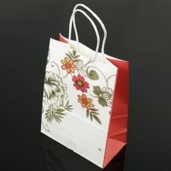 Lot de 12 grands sacs en papier kraft à fleur soufflet rouge 25.5x33x12cm - 7404