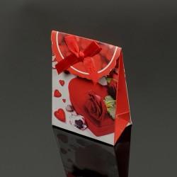 12 petites boîtes cadeaux rouges motif Saint-Valentin 7.5x4x10.5cm - 7608