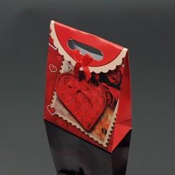 12 pochettes cadeaux rouges motif coeurs 12.5x6x16cm - 7614