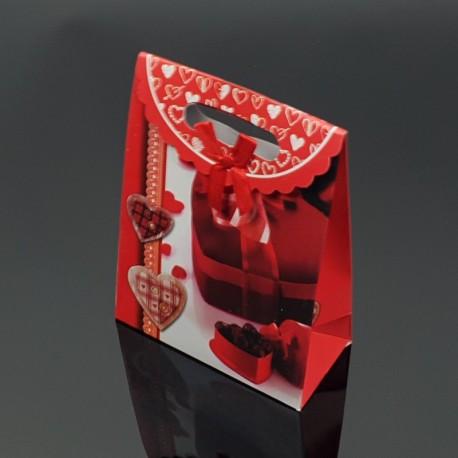 12 pochettes cadeaux rouges motif boîte de chocolat coeur 12.5x6x16cm - 7615