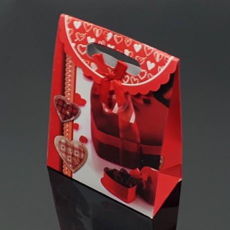 12 pochettes cadeaux cartonnées rouges motif boîte de chocolat 19x9x27cm - 7619