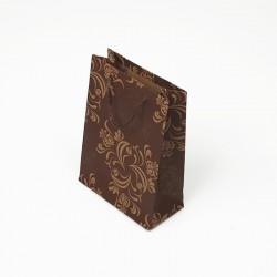 12 sacs cabas en papier kraft marron motif arabesque 15x6x20cm - 7622
