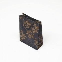 12 sacs cabas en papier kraft bleu motif arabesque 15x6x20cm - 7623