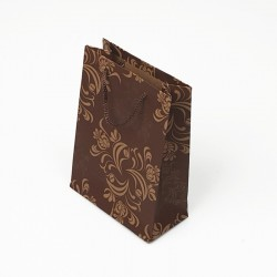12 sacs cabas kraft de couleur marron motif arabesque 19x8x24.5cm - 7624