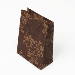 12 sacs en papier kraft marron motif arabesque 24x8x33cm - 7626