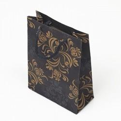 12 sacs en papier kraft bleu motif arabesque 24x8x33cm - 7627