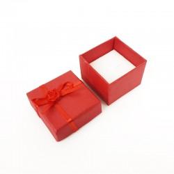 24 petits écrins rouge coquelicot pour bague 3.5x3.5cm - 10079