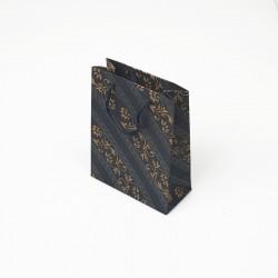 12 petits sacs kraft couleur bleu motif frise baroque 11.5x5.5x14.5cm - 7631