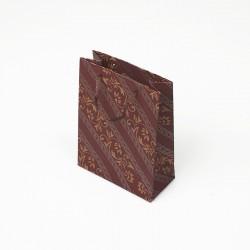 12 sacs cabas en papier kraft rouge bordeaux motif baroque 15x6x20cm - 7632