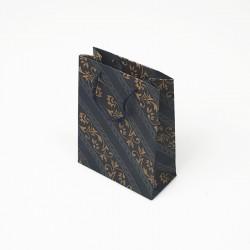 12 sacs cabas en papier kraft bleu nuit motif baroque 15x6x20cm - 7633