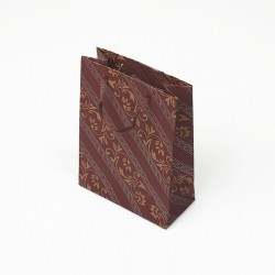 12 sacs cabas kraft de couleur rouge bordeaux motif baroque 19x8x24.5cm - 7634