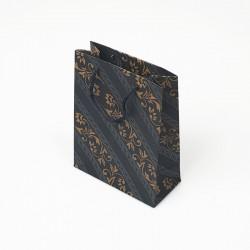 12 sacs cabas kraft de couleur bleu nuit motif baroque 19x8x24.5cm - 7635