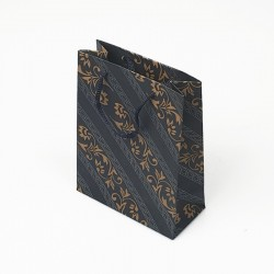 12 sacs en papier kraft bleu nuit motif baroque 24x8x33cm - 7637