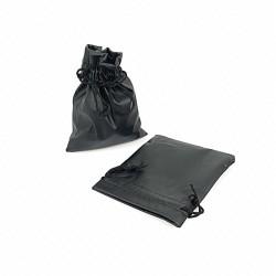 10 bourses cadeaux façon simili cuir de couleur noire 7x8cm - 7662
