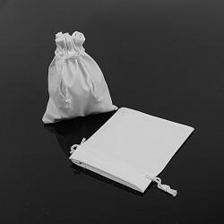 10 pochettes en PVC soule façon simili cuir blanc 10x11cm - 7663