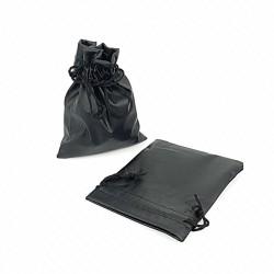 10 pochettes en PVC soule façon simili cuir noir 10x11cm - 7664